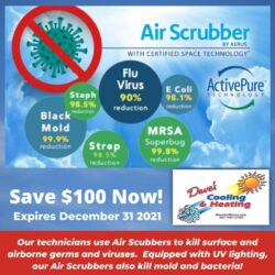 Coupon 100 Dollars off of Air Scrubbing and Air Cleaning At Dave's Cooling and Heating Frederick - Expires December 31 2021